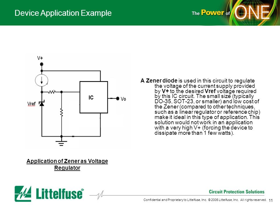 11 Confidential and Proprietary to Littelfuse, Inc. © 2005 Littelfuse, Inc. All rights reserved. Device Application Example Application of Zener as Vo
