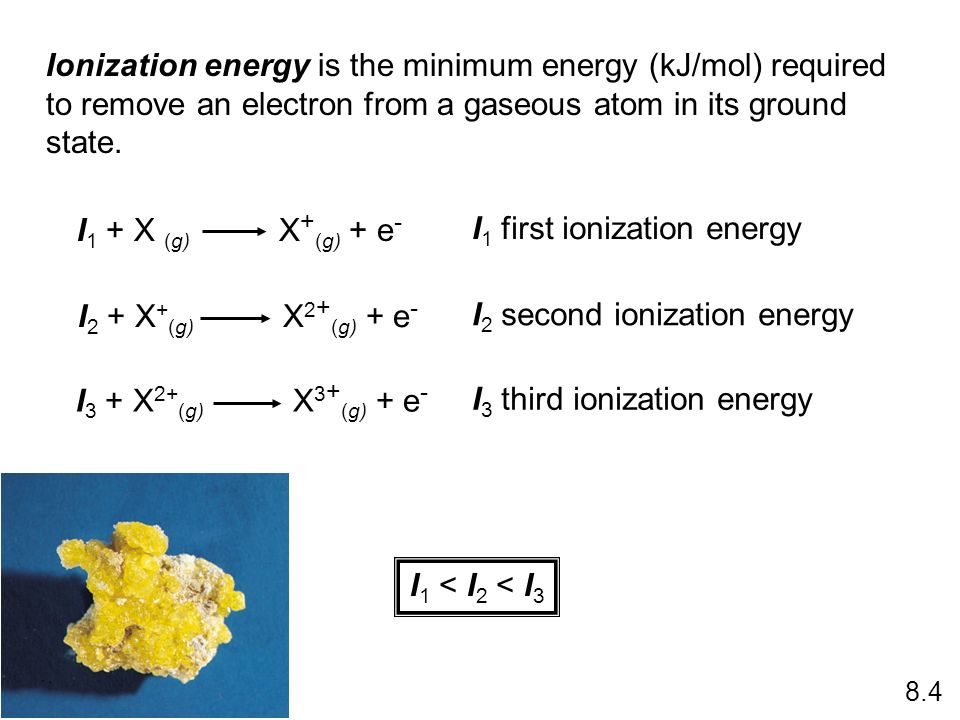 Ionization energy is the minimum energy (kJ/mol) required to remove an electron from a gaseous atom in its ground state. I 1 + X (g) X + (g) + e - I 2
