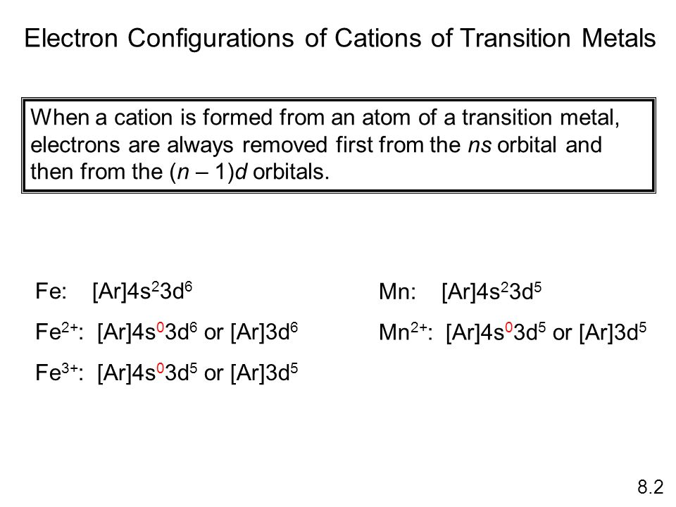 Electron Configurations of Cations of Transition Metals 8.2 When a cation is formed from an atom of a transition metal, electrons are always removed f