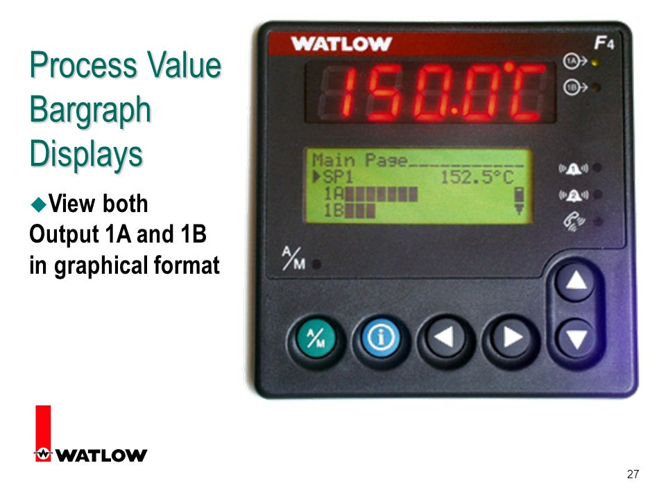 27 Process Value Bargraph Displays u View both Output 1A and 1B in graphical format