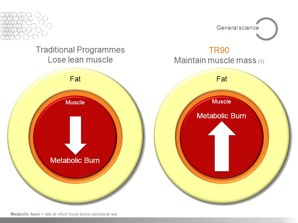 Muscle Metabolic Burn Traditional Programmes Lose lean muscle TR90 Maintain muscle mass (1) Metabolic burn = rate at which body burns calories at rest