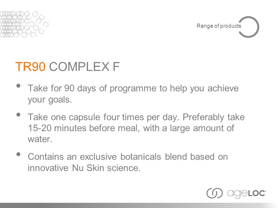 TR90 COMPLEX F Take for 90 days of programme to help you achieve your goals. Take one capsule four times per day. Preferably take 15-20 minutes before