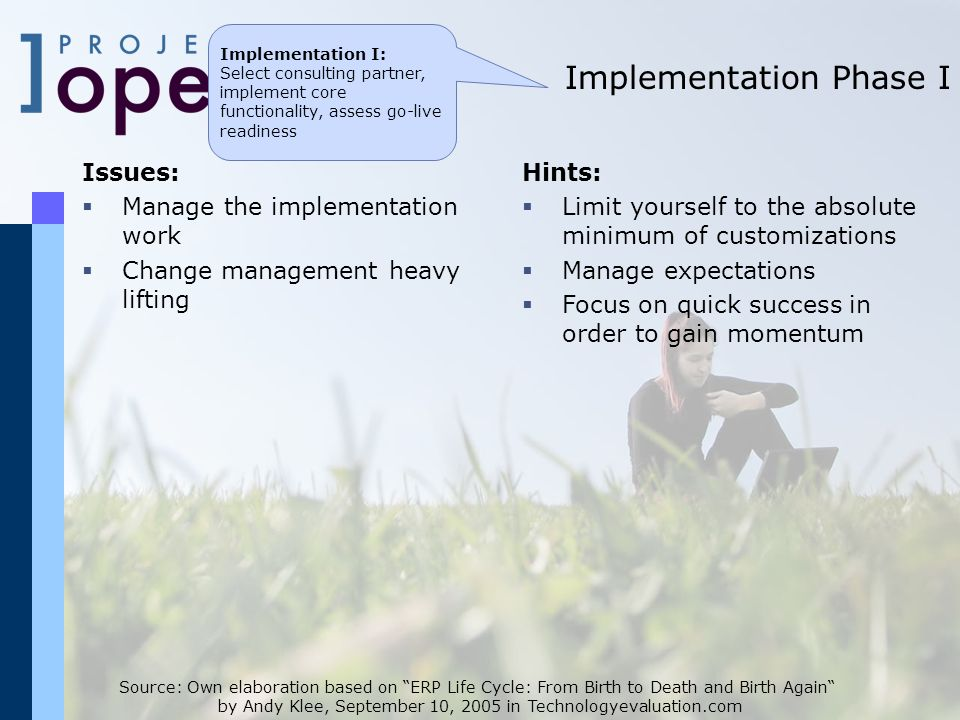 Implementation Phase I Source: Own elaboration based on ERP Life Cycle: From Birth to Death and Birth Again by Andy Klee, September 10, 2005 in Technologyevaluation.com Issues: Manage the implementation work Change management heavy lifting Hints: Limit yourself to the absolute minimum of customizations Manage expectations Focus on quick success in order to gain momentum Implementation I: Select consulting partner, implement core functionality, assess go-live readiness