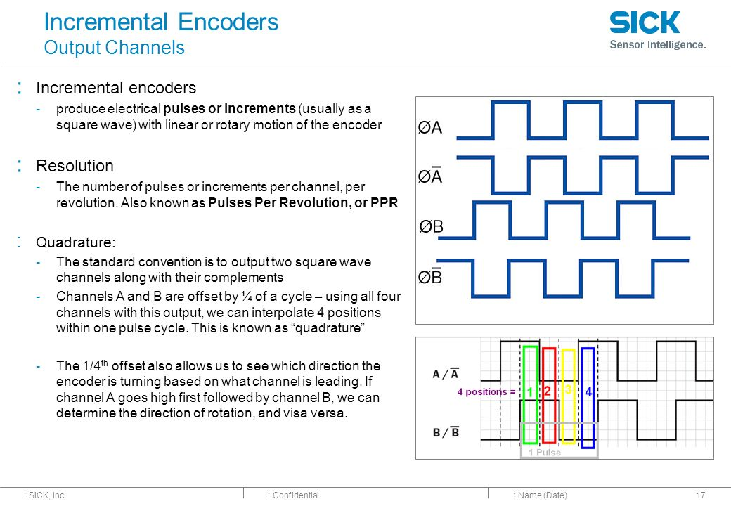 : SICK, Inc.: Confidential Incremental Encoders Output Channels : Incremental encoders -produce electrical pulses or increments (usually as a square w