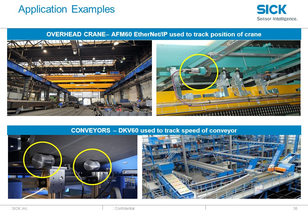 : SICK, Inc.: Confidential Application Examples 36 OVERHEAD CRANE– AFM60 EtherNet/IP used to track position of crane CONVEYORS – DKV60 used to track s