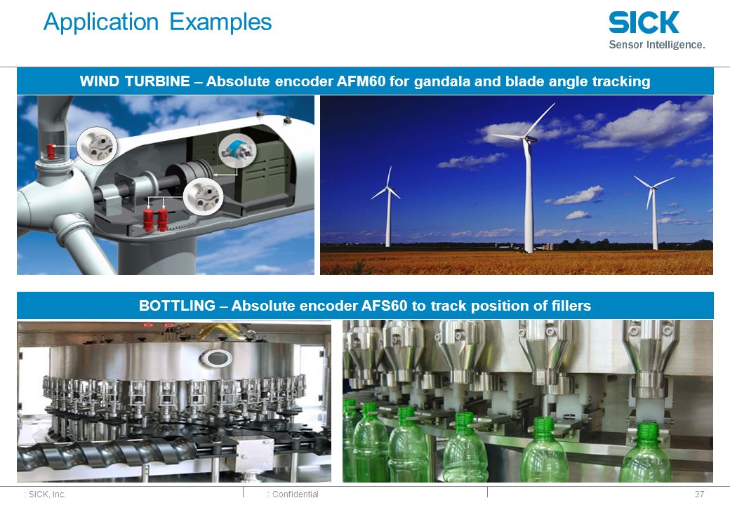 : SICK, Inc.: Confidential Application Examples 37 WIND TURBINE – Absolute encoder AFM60 for gandala and blade angle tracking BOTTLING – Absolute enco