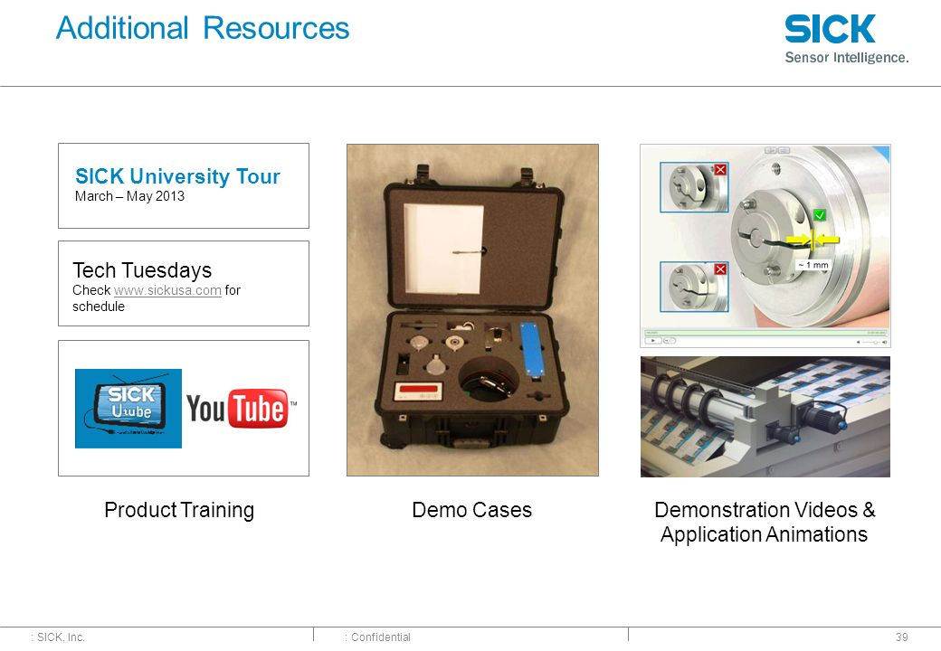 : SICK, Inc.: Confidential Additional Resources 39 Demonstration Videos & Application Animations SICK University Tour March – May 2013 Product Trainin