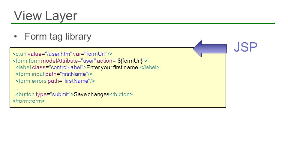Form tag library View Layer 14 Enter your first name:... Save changes JSP