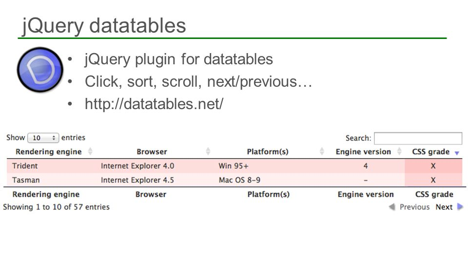 jQuery plugin for datatables Click, sort, scroll, next/previous… http://datatables.net/ jQuery datatables