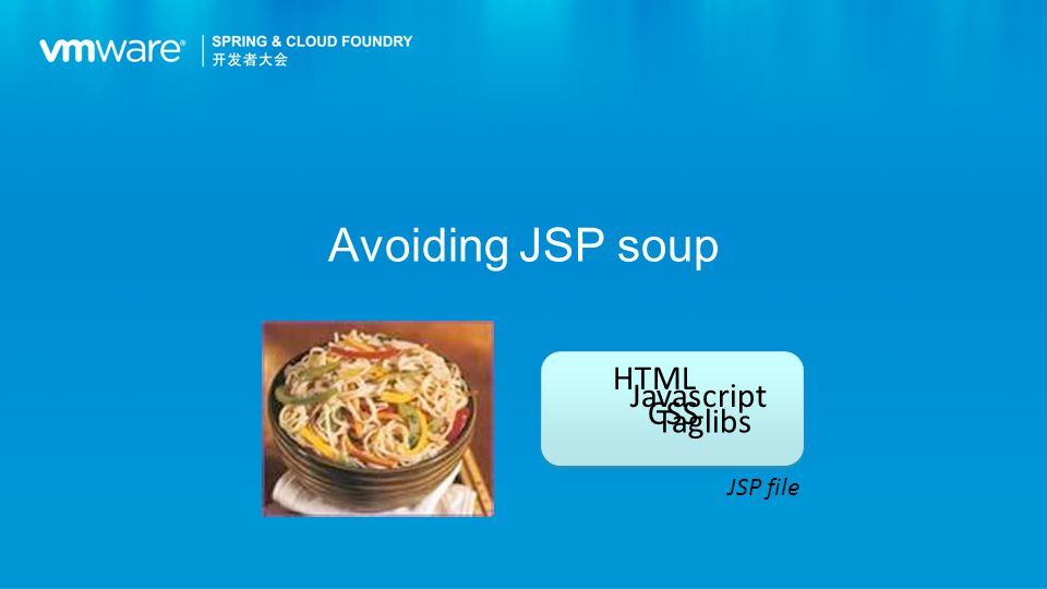 Avoiding JSP soup JSP file HTML Javascript CSS Taglibs