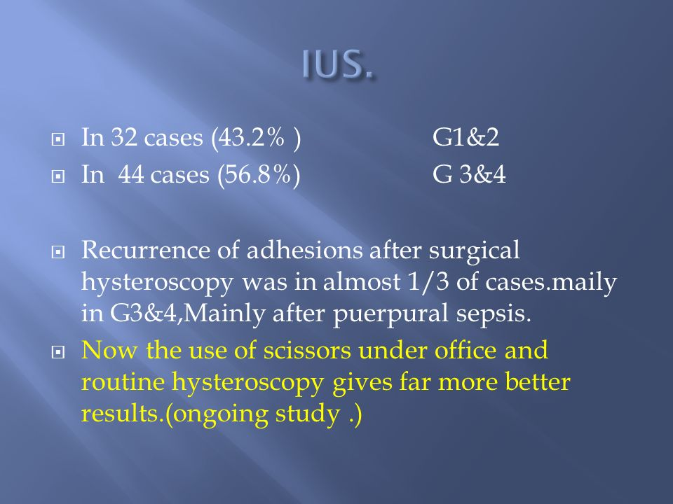 In 32 cases (43.2% ) G1&2 In 44 cases (56.8%) G 3&4 Recurrence of adhesions after surgical hysteroscopy was in almost 1/3 of cases.maily in G3&4,Mainly after puerpural sepsis.