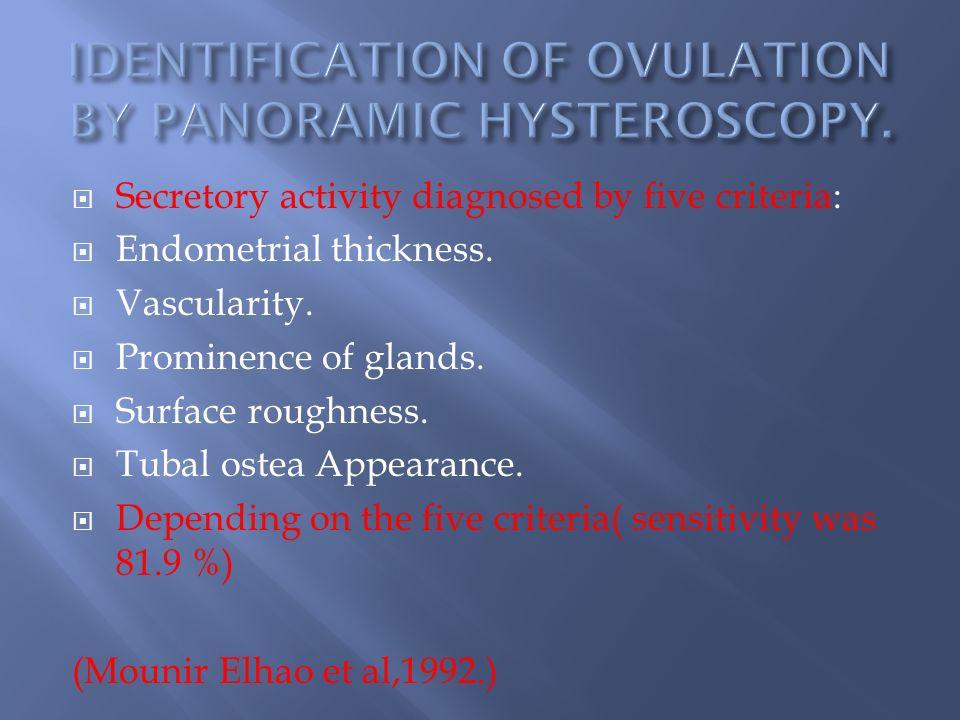 Secretory activity diagnosed by five criteria: Endometrial thickness.