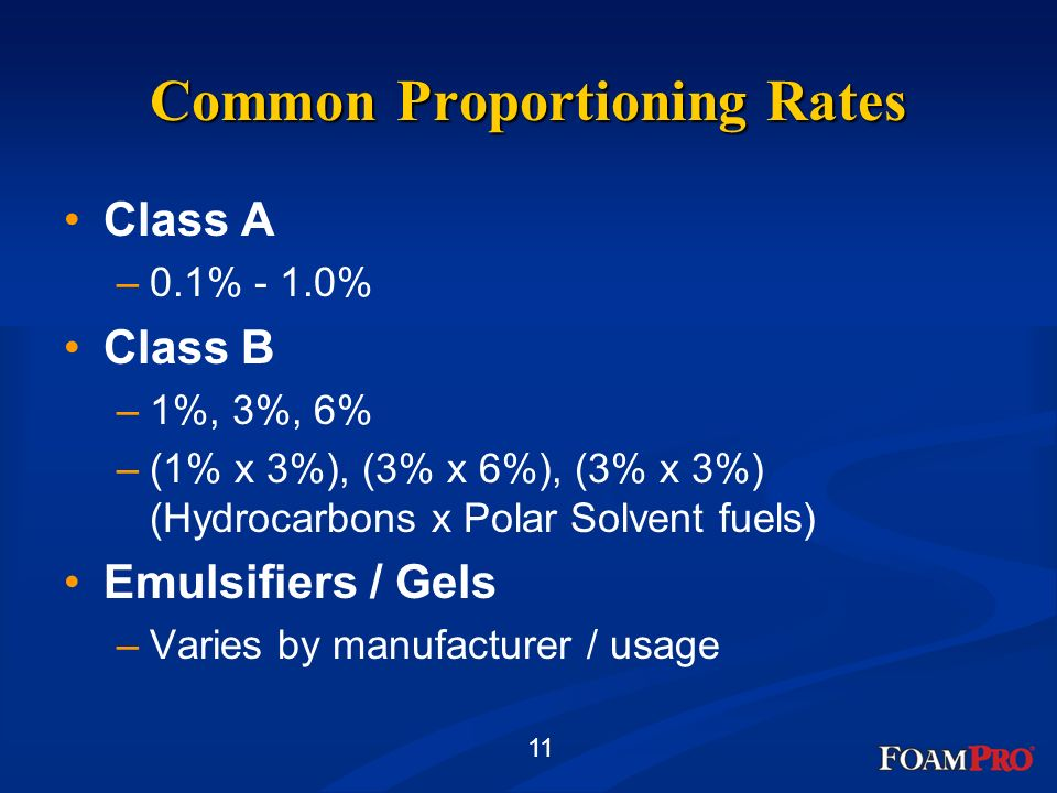 11 Common Proportioning Rates Class A –0.1% - 1.0% Class B –1%, 3%, 6% –(1% x 3%), (3% x 6%), (3% x 3%) (Hydrocarbons x Polar Solvent fuels) Emulsifie