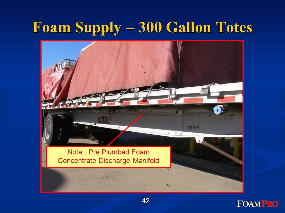 42 Foam Supply – 300 Gallon Totes Note: Pre Plumbed Foam Concentrate Discharge Manifold