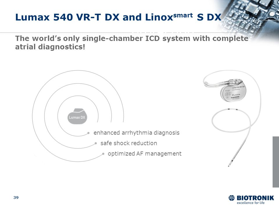 39 safe shock reduction optimized AF management enhanced arrhythmia diagnosis unique protection Lumax 540 VR-T DX and Linox smart S DX The worlds only
