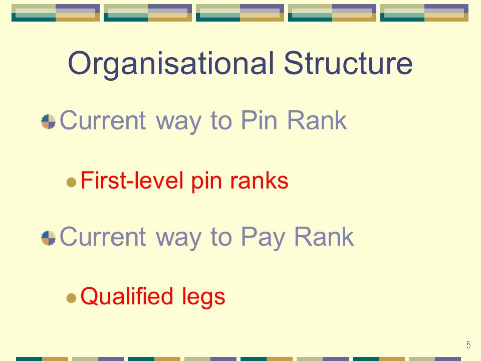 5 Organisational Structure Current way to Pin Rank First-level pin ranks Current way to Pay Rank Qualified legs