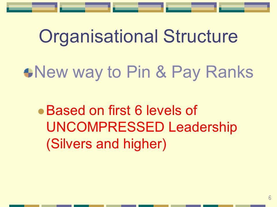 6 Organisational Structure New way to Pin & Pay Ranks Based on first 6 levels of UNCOMPRESSED Leadership (Silvers and higher)