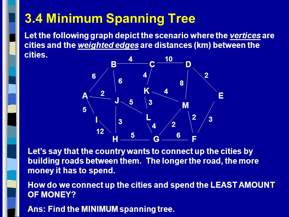 3.4 Minimum Spanning Tree A GH BCD I J K F L E M 5 5 5 2 2 2 3 3 4 4 4 4 2 6 6 3 8 10 6 12 Let the following graph depict the scenario where the vertices are cities and the weighted edges are distances (km) between the cities.