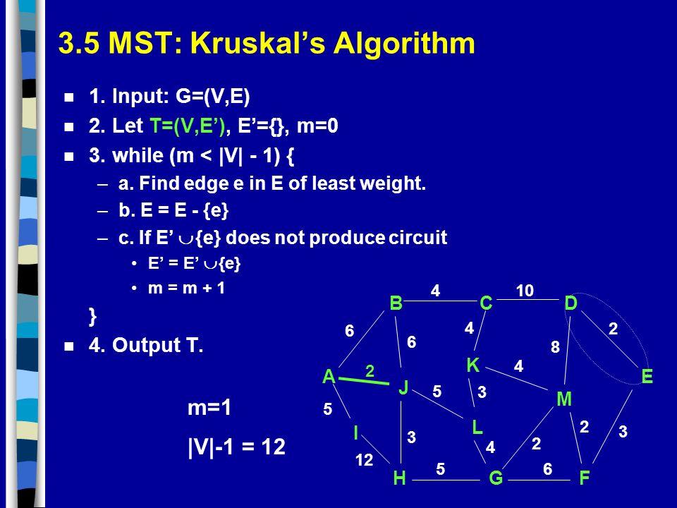 3.5 MST: Kruskals Algorithm n 1. Input: G=(V,E) n 2. Let T=(V,E), E={}, m=0 n 3. while (m < |V| - 1) { –a. Find edge e in E of least weight. –b. E = E
