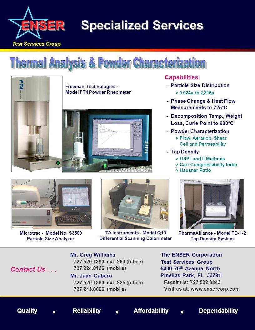 Microtrac - Model No. S3500 Particle Size Analyzer The ENSER Corporation Test Services Group 5430 70 th Avenue North Pinellas Park, FL 33781 Facsimile