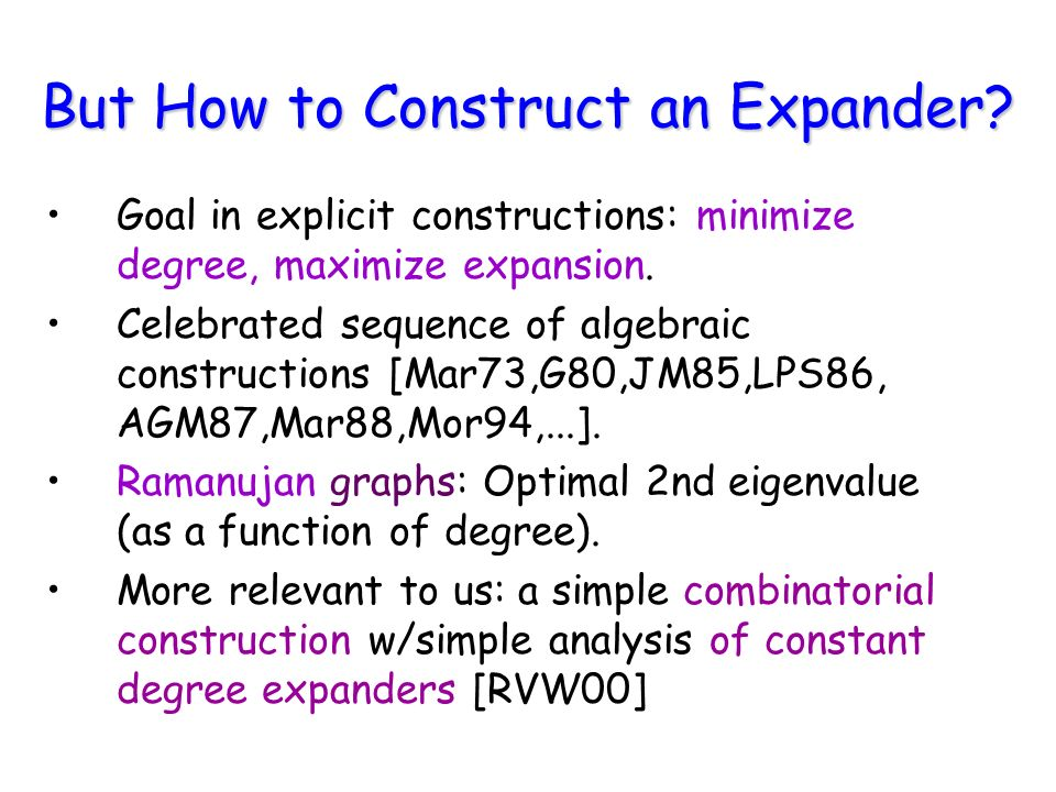But How to Construct an Expander? Goal in explicit constructions: minimize degree, maximize expansion. Celebrated sequence of algebraic constructions