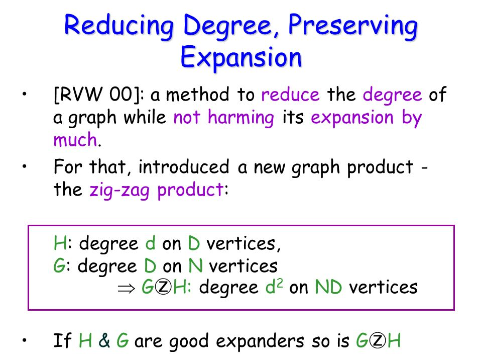 Reducing Degree, Preserving Expansion [RVW 00]: a method to reduce the degree of a graph while not harming its expansion by much. For that, introduced