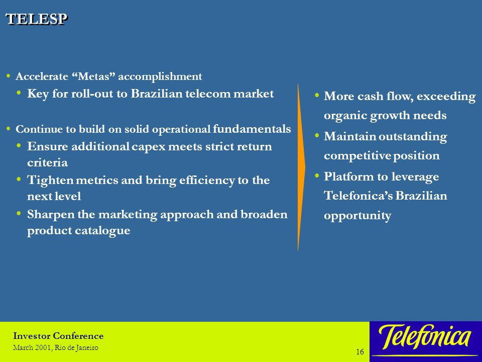 Investor Conference March 2001, Rio de Janeiro 15 TELEFONICA MOVILES ESPAÑA Monitor client profitability & traffic share – Loyalty programs – Product