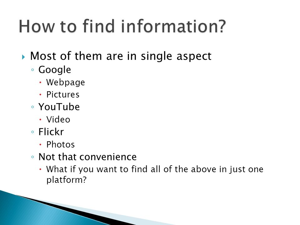 Information exchange consisting of both sharing and retrieving People concern more on the latter than the former Retrieving >>> Sharing Imbalance Ridiculous Google Does not provide any sharing function