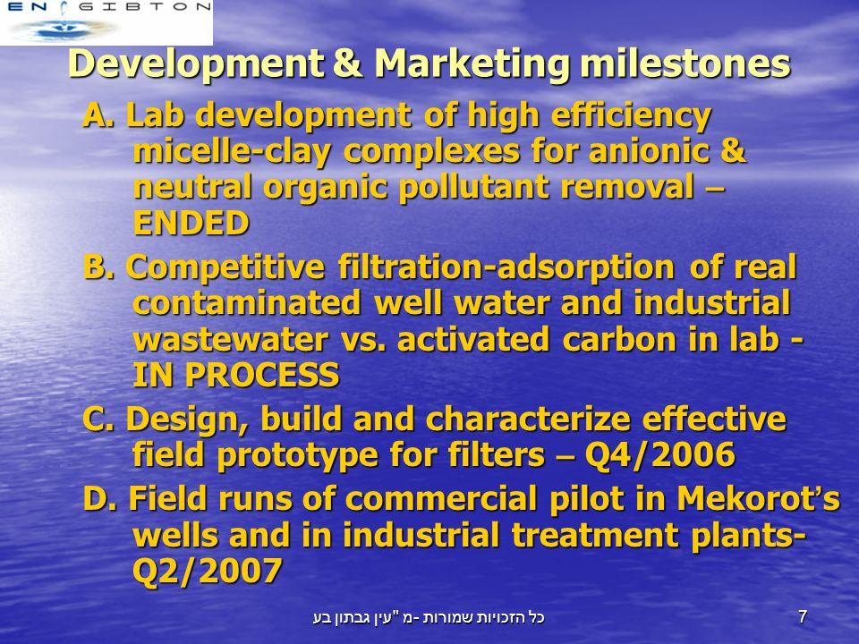 עין גבתון בע מ - כל הזכויות שמורות 7 Development & Marketing milestones A.
