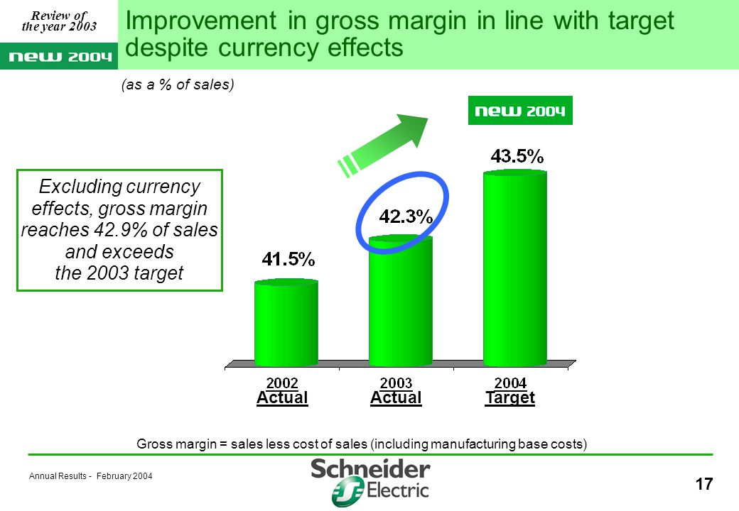 Annual Results - February Actual Target Gross margin = sales less cost of sales (including manufacturing base costs) Improvement in gross margin in line with target despite currency effects Excluding currency effects, gross margin reaches 42.9% of sales and exceeds the 2003 target (as a % of sales) Review of the year 2003
