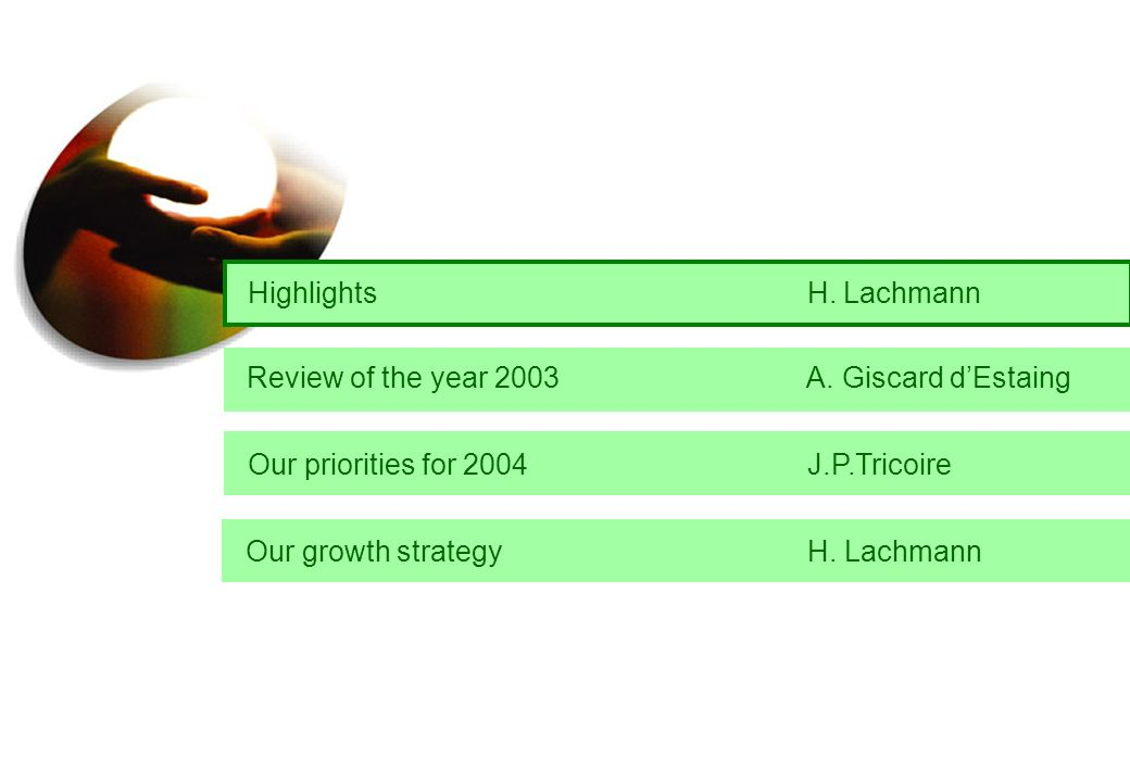 Highlights H. Lachmann Our growth strategy H. Lachmann Review of the year 2003 A.