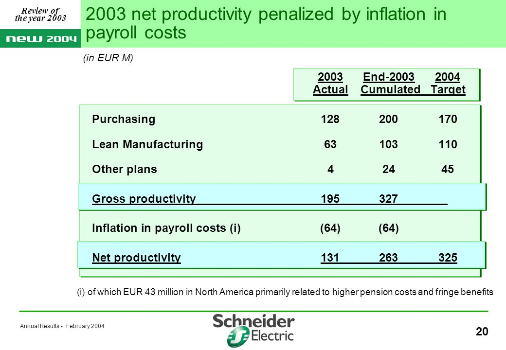 Annual Results - February 2004 20 2003 net productivity penalized by inflation in payroll costs (i) of which EUR 43 million in North America primarily related to higher pension costs and fringe benefits 2003 End-20032004 Actual CumulatedTarget Purchasing128200170 Lean Manufacturing63103110 Other plans42445 Gross productivity195327 Inflation in payroll costs (i)(64)(64) Net productivity131263325 Review of the year 2003 (in EUR M)