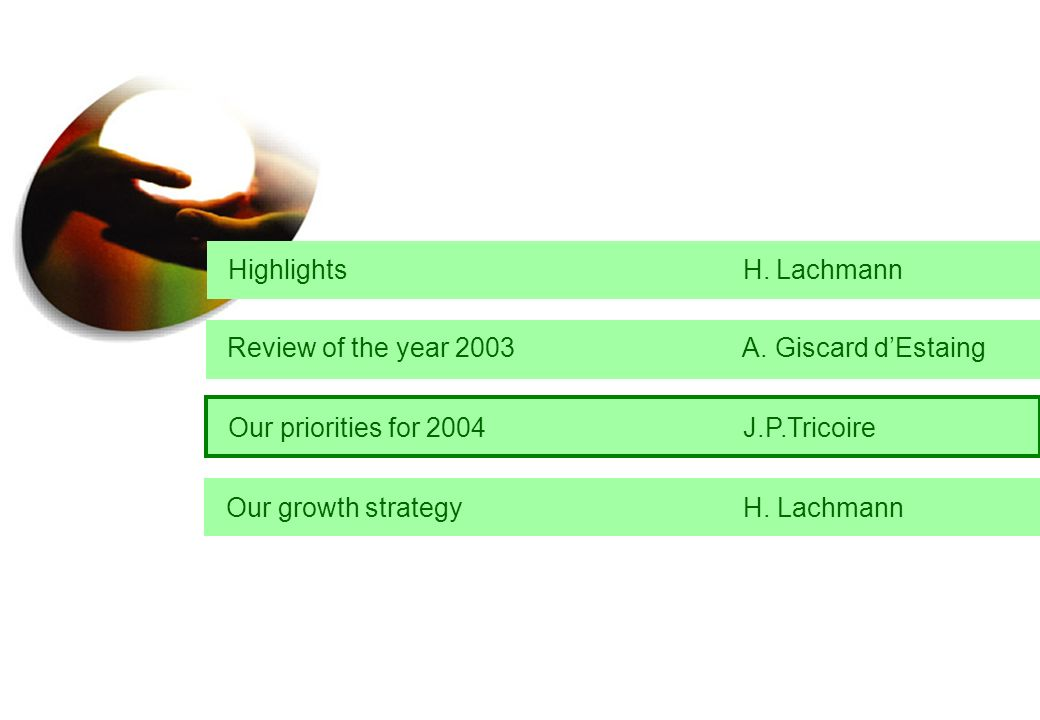 Highlights H. Lachmann Our growth strategy H. Lachmann Review of the year 2003 A. Giscard dEstaing Our priorities for 2004 J.P.Tricoire