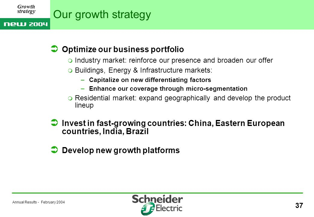 Annual Results - February Our growth strategy Optimize our business portfolio Industry market: reinforce our presence and broaden our offer Buildings, Energy & Infrastructure markets: –Capitalize on new differentiating factors –Enhance our coverage through micro-segmentation Residential market: expand geographically and develop the product lineup Invest in fast-growing countries: China, Eastern European countries, India, Brazil Develop new growth platforms Growth strategy