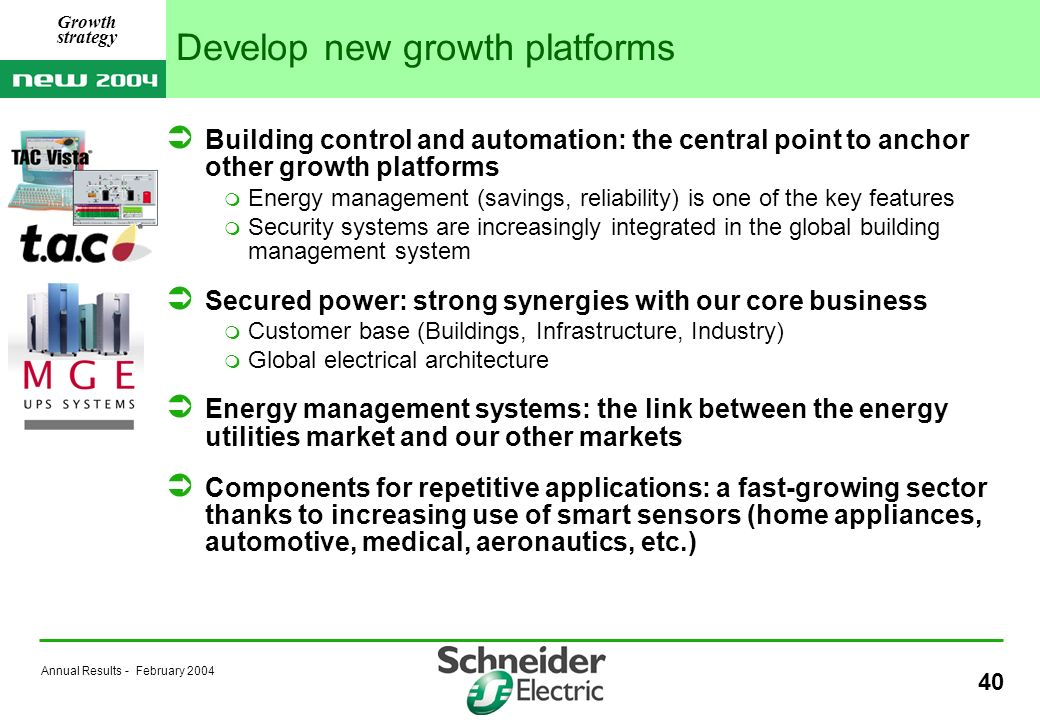 Annual Results - February 2004 40 Develop new growth platforms Building control and automation: the central point to anchor other growth platforms Energy management (savings, reliability) is one of the key features Security systems are increasingly integrated in the global building management system Secured power: strong synergies with our core business Customer base (Buildings, Infrastructure, Industry) Global electrical architecture Energy management systems: the link between the energy utilities market and our other markets Components for repetitive applications: a fast-growing sector thanks to increasing use of smart sensors (home appliances, automotive, medical, aeronautics, etc.) Growth strategy