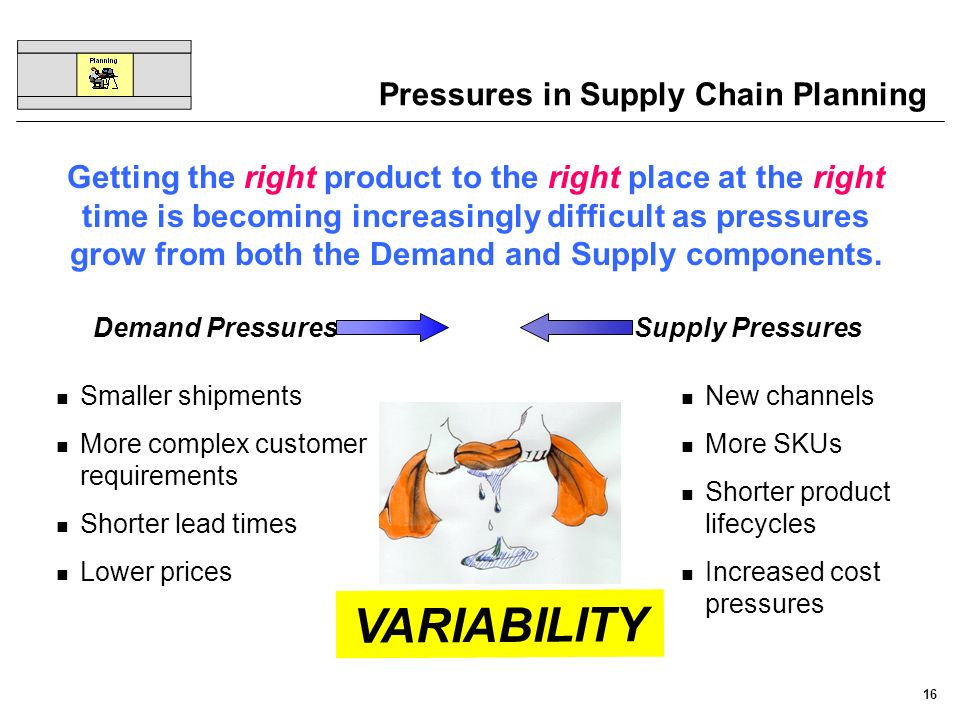 16 Pressures in Supply Chain Planning Demand PressuresSupply Pressures Smaller shipments More complex customer requirements Shorter lead times Lower p
