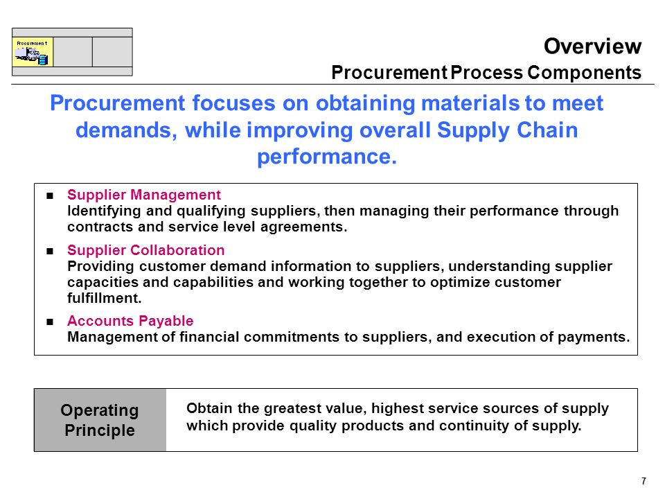 7 Operating Principle n Supplier Management Identifying and qualifying suppliers, then managing their performance through contracts and service level