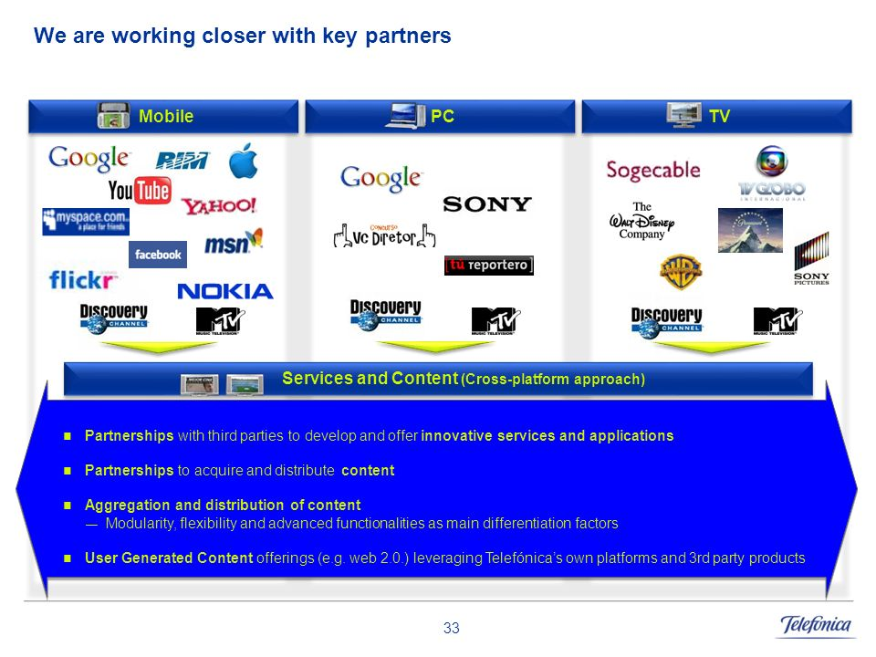 33 We are working closer with key partners TV Partnerships with third parties to develop and offer innovative services and applications Partnerships t