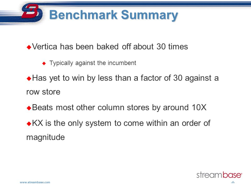 www.streambase.com13 Benchmark Summary Benchmark Summary Vertica has been baked off about 30 times Typically against the incumbent Has yet to win by l