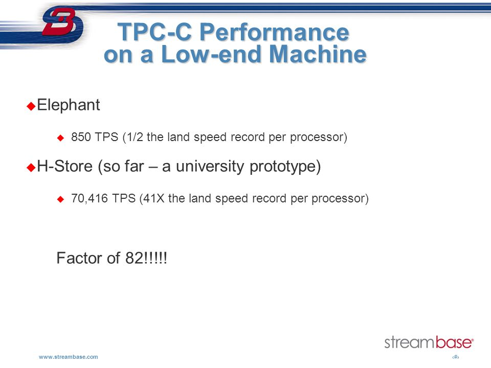 www.streambase.com15 TPC-C Performance TPC-C Performance on a Low-end Machine Elephant 850 TPS (1/2 the land speed record per processor) H-Store (so f