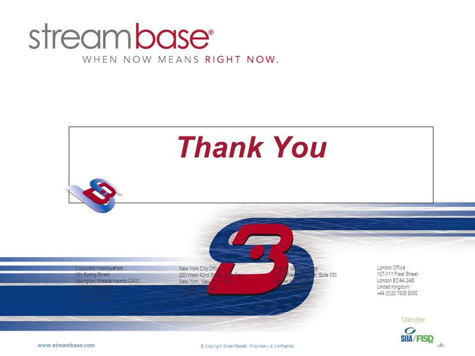 © Copyright StreamBase®. Proprietary & Confidential. www.streambase.com20 Thank You Member Corporate Headquarters 181 Spring Street Lexington, Massach