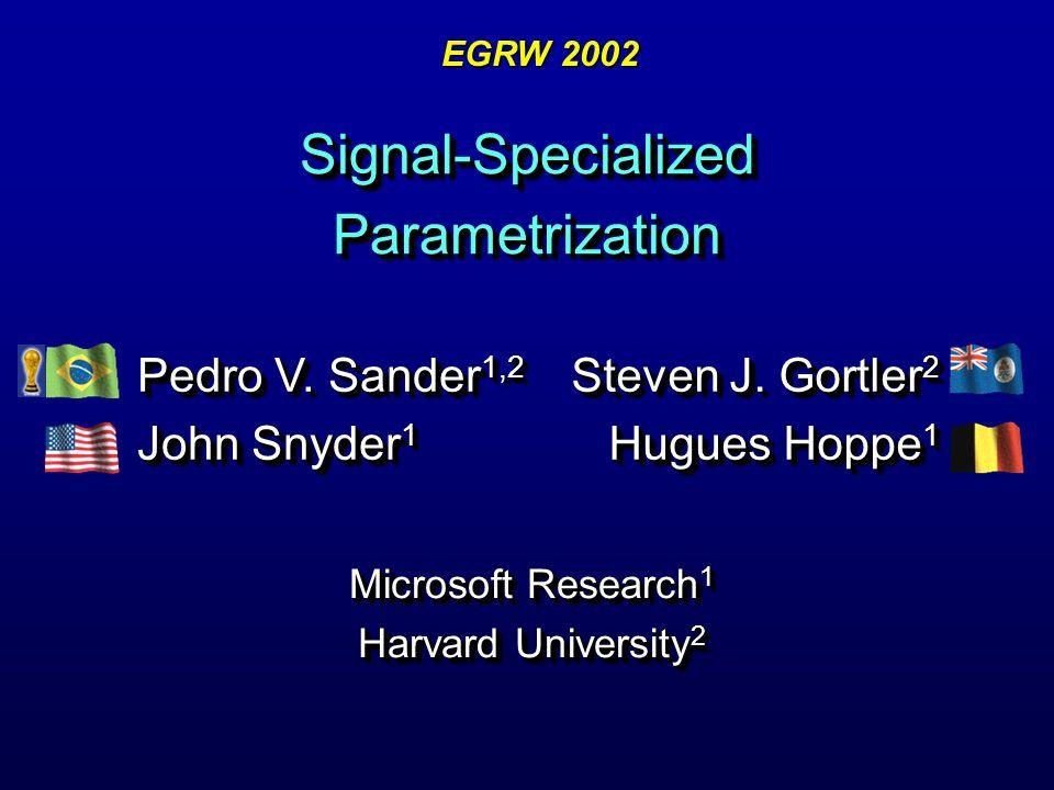 Signal-Specialized Parametrization Microsoft Research 1 Harvard University 2 Microsoft Research 1 Harvard University 2 Steven J. Gortler 2 Hugues Hopp