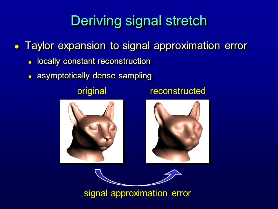 l Taylor expansion to signal approximation error n locally constant reconstruction n asymptotically dense sampling l Taylor expansion to signal approximation error n locally constant reconstruction n asymptotically dense sampling Deriving signal stretch signal approximation error originalreconstructed