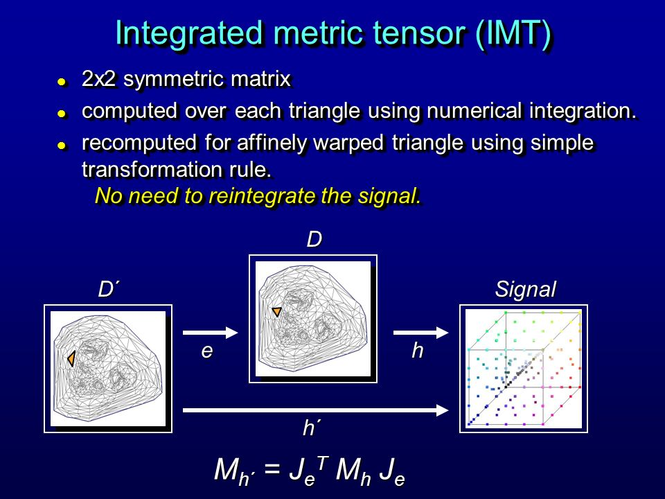 Integrated metric tensor (IMT) l 2x2 symmetric matrix l computed over each triangle using numerical integration. l recomputed for affinely warped tria