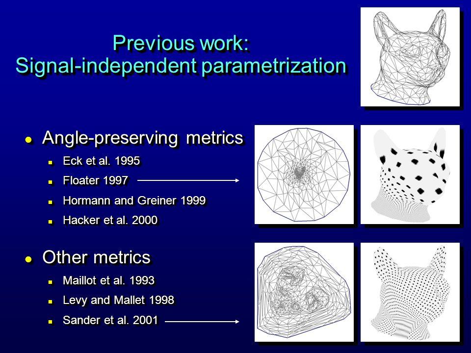 Previous work: Signal-independent parametrization l Angle-preserving metrics n Eck et al. 1995 n Floater 1997 n Hormann and Greiner 1999 n Hacker et a