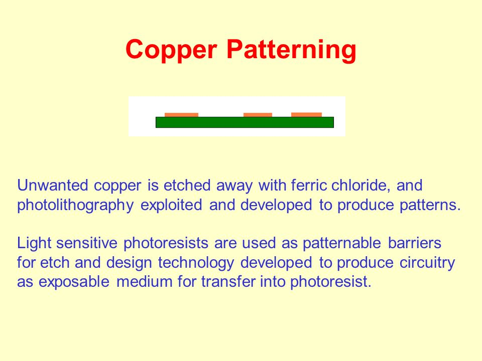 Unwanted copper is etched away with ferric chloride, and photolithography exploited and developed to produce patterns. Light sensitive photoresists ar