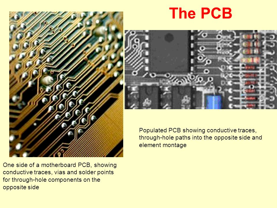 Populated PCB showing conductive traces, through-hole paths into the opposite side and element montage One side of a motherboard PCB, showing conducti