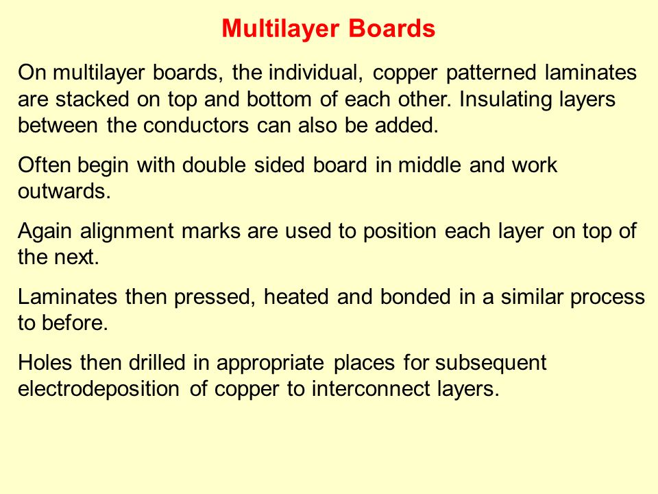 On multilayer boards, the individual, copper patterned laminates are stacked on top and bottom of each other. Insulating layers between the conductors