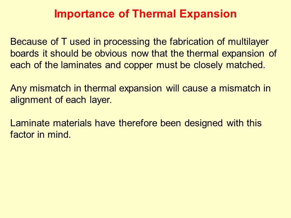 Because of T used in processing the fabrication of multilayer boards it should be obvious now that the thermal expansion of each of the laminates and