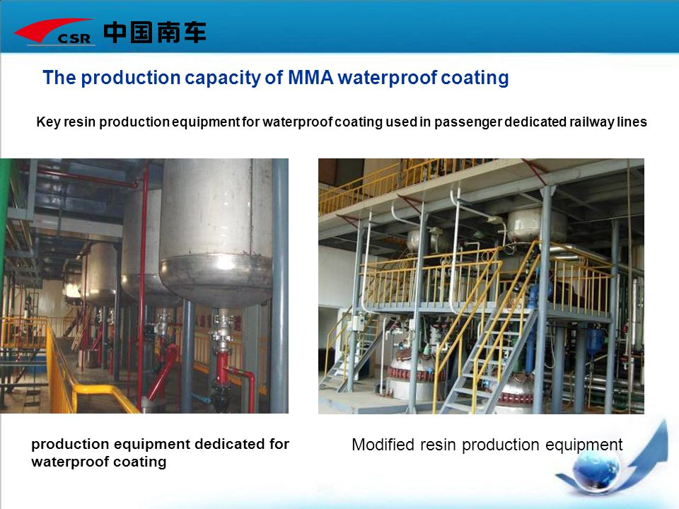 The production capacity of MMA waterproof coating Key resin production equipment for waterproof coating used in passenger dedicated railway lines Modi